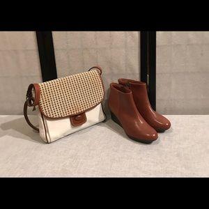 Handbags - Price✂️White genuine leather purse with brown trim